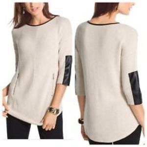 Chico's Estelle Faux Leather Sleeve Ivory Sweater